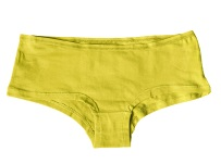 Sports yellow female panties on white background