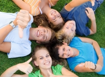 happy positive teenagers