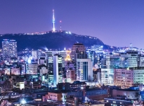 Seoul, South Korea skyline with Namsan Mountain and Seoul Tower.