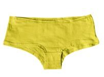Sports yellow female panties on white background