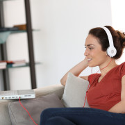 a woman learning a language online